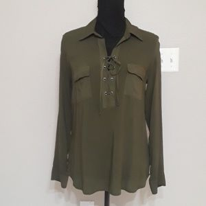 Green Lace Up Blouse by Splendid - Size Medium